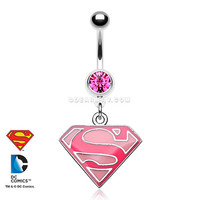 Pink Sparkle Superman Belly Button Ring