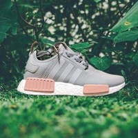 PEAPGE2 Beauty Ticks Adidas Nmd Women Fashion Running Sports Shoes Sneakers Grey-pink