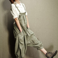 Casual Loose Fitting Linen Suspender Slacks - Green Pants - Women Clothing (R)
