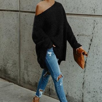 Black Plain Asymmetric Shoulder Long Sleeve Casual Pullover Sweater