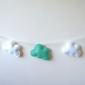 Turquoise Cloud Garland, Cloud Banner, Cloud Bunting, nursery decor, photo prop, baby shower gift, new baby, nursery gift, turquoise clouds