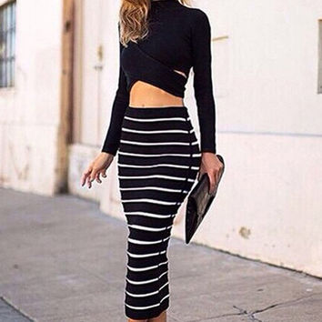Lady Women's Striped Bodycon Stretch Sexy Dress Long Sleeve Tops Blouse + Long Skirt