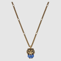 Gucci Lion head necklace with crystal