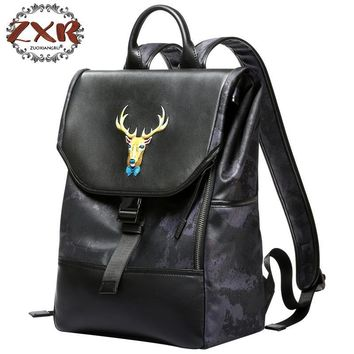 2018 New Fashion Animal Leather Deer Handmade Ladies Backpack Leather Laptop Bag Travel Backpack Anti-theft Leisure Bag