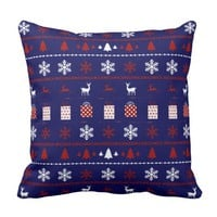 Christmas Sweater Pattern, white, red on navy Throw Pillows