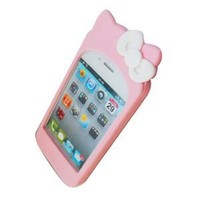 Cute Hello Kitty Silicone Case for Iphone 4 (Baby Pink Color)
