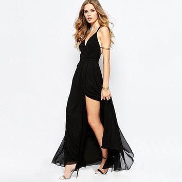 Casual Spaghetti Strap Backless Mesh High Slit Maxi Dress