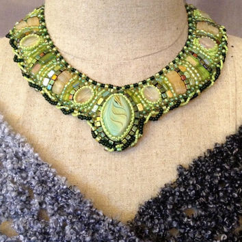 ON SALE Bead Embroidered Collar - Green and Beige
