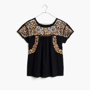 Embroidered Springtime Top in True Black : | Madewell