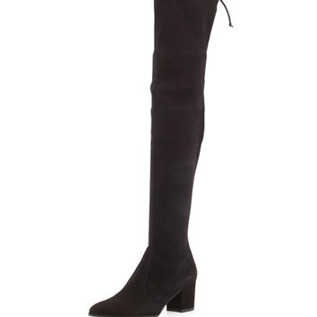 Stuart Weitzman Thighland Suede Over-The-Knee Boot, Black