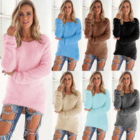 Fuzzy Long Sleeve Pullover Sweater (8 Colors)