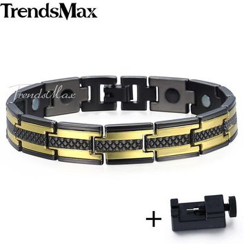 Men's Magnetic  3 Tone Black - Gold - Silver Stainless Steel  Bracelet + Free Link Removal Tool