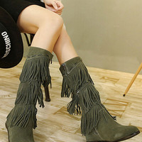 Army Green Suedette Tassel Detail Wedge Knee High Boots