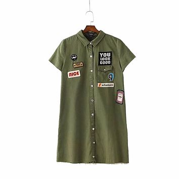 Women cute letters patchwork long shirts short sleeve one pocket buttons blouse ladies summer casual tops blusas DT768