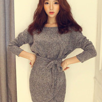 'The Caroline' Gray Long Sleeve Wrap Dress With Belt