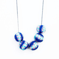 Blue And Pink Polymer Clay Necklace,Geometric Necklace