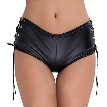 TiaoBug Women Black Patent Leather Lace Up Hot Mini Shorts Female Nightclub Rave Party Pole Dance Performance Sexy Shorts Outfit