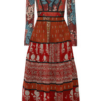 Burberry Prorsum - Paneled printed canvas and silk-georgette midi dress