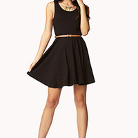 Slub Knit Skater Dress w/ Belt