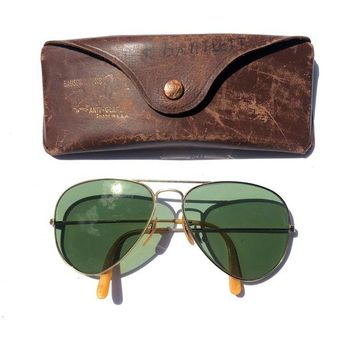 Gotopfashion Vintage B&L Ray Ban 1/10 12K GF Gold Frame Green Lens Aviator Sunglasses & Case
