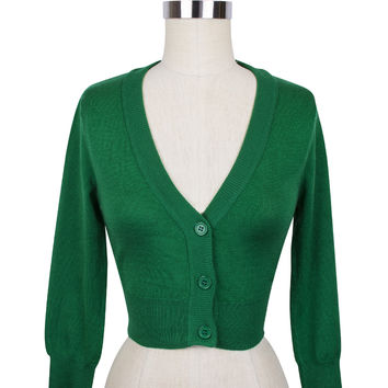 Cropped Cardigan | Retro Inspired Sweater | Kelly Green