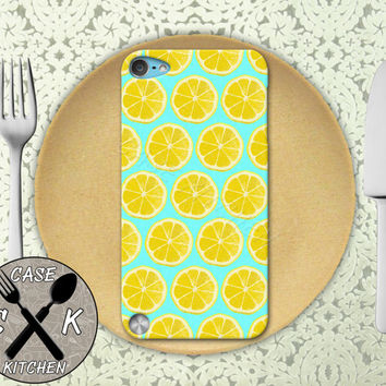 Lemon Slice Pattern Mint Blue Pop Art Tumblr Cute Custom Rubber Case iPod 5th Generation and Plastic Case For The iPod 4th Generation