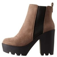 Taupe Lug Sole Platform Chelsea Booties by Charlotte Russe