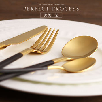 Eco-friendly Japanese dinnerware cutlery set stainless steel gold plated flatware quality tableware