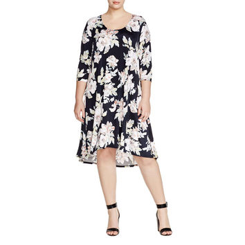 Karen Kane Womens Aquarius Floral Print 3/4 Sleeves Casual Dress