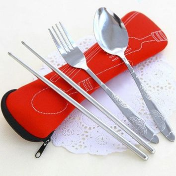 3Pcs/set Hot Sale Creative Chinese Stainless Steel Tableware Set Portable Travel Picnic Dinnerware Set For Kids School Gifts