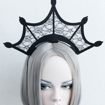 Black Floral Lace Crown Top Headband