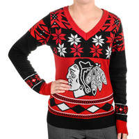 "Chicago Blackhawks Women's ""Big Logo"" V-Neck Sweater by Klew"