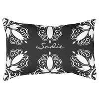 Black And White Decorative Flourish And Pet's Name Dog Bed