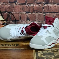 Kids Air Jordan 6 White/Wine Red Sneaker Shoe Size US 11C-3Y