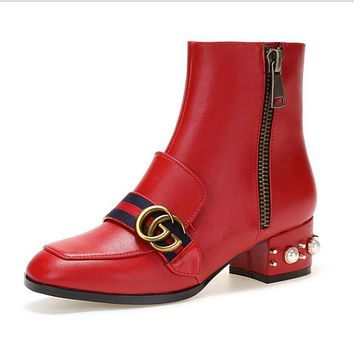 GUCCI Trending Women Stylish Leather Metal Buckle Pearl Square Heel Ankle Boots High-End High Heels Shoes Red I12279-1