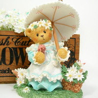 Cherished Teddies Kimberly Figurine - Enesco 1997 - Girl Teddy Bear Holding Parasol - Summer Brings a Season of Warmth - Gift for Her