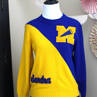 Vintage 1960's Varsity Pep Squad Cheerleader Letterman Pullover Jumper Sweater Blue and Gold Sandra Dehen Knitting Co + MEDIUM