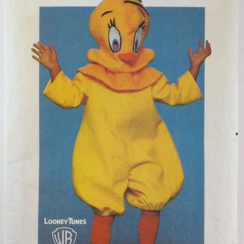 Vintage Halloween Pattern Butterick 6350 Tweet Costume Children's Costume and Mask Looney Tunes Costume Destash Commercial Supply