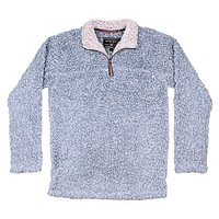 Softest Tip Shearling 1/4 Zip Pullover in Chambray by True Grit - FINAL SALE