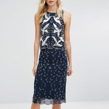 Frock And Frill Tall Premium Embellished 2 In 1 Shift Dress at asos.com