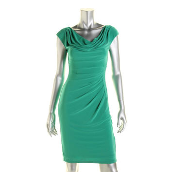 Lauren Ralph Lauren Womens Petites Matte Jersey Shutter Pleat Wear to Work Dress