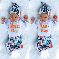 autumn fall  spring 2017 new print Cotton Newborn Infant Baby Boy Girls Romper Jumpsuit Clothes Outfits mama boy letter