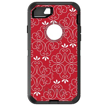 DistinctInk™ OtterBox Defender Series Case for Apple iPhone / Samsung Galaxy / Google Pixel - Dark Red White Floral