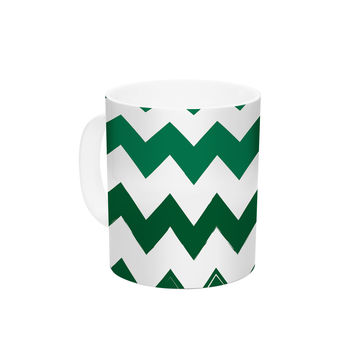 "KESS Original ""Candy Cane Green"" Chevron Ceramic Coffee Mug"