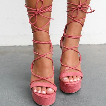 Strike Three Lace Up Cinnamon Platform Heel
