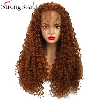 StrongBeauty Long Synthetic Lace Front Wig Curly Hair Natural Wigs Women Wigs