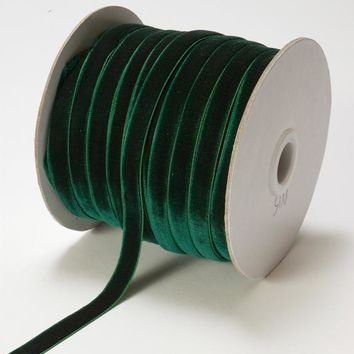 "Premium Woven Velvet Ribbon in Hunter Green - 3/8"" Wide x 33 yd"