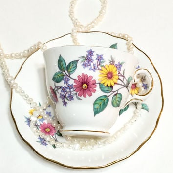 Royal Vale Tea Cup and Saucer, Pink & Yellow Flowers, English Bone China, Shabby Chic Decor, 1950s, Vintage Tea Cup,