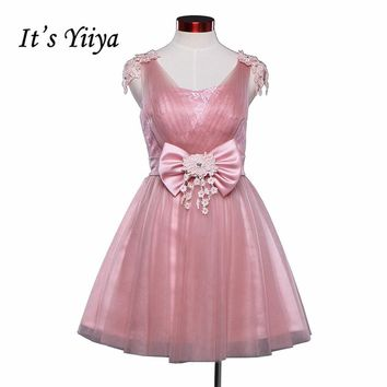 Free shipping 2017 new Real Photo Pink Lace Tulle Short Bridesmaid Dresses Knee- length Party Frocks Plus Size SY021