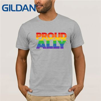 "Men's LGBT ""Proud Ally"" SHIRT Gay Pride T shirt Short-Sleeve T-Shirt (S-3XL)"